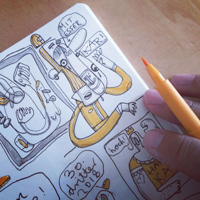 Skizzenbuch Seite Karfreitag, Zeichnung mit Tusche auf Papier von Frank Schulz Art, zeigt eine Fantasie Figur mit vielen Gesichtern