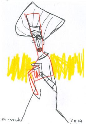 Adele Bloch-Bauer I , Tuschezeichnung von Frank Schulz Art, Meisterwerk Reloaded nach Gustav Klimt