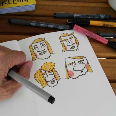 Skizzenbuch Seite Mann mit Retro Frisur, Zeichnung mit Tusche auf Papier und digitaler Farbe von Frank Schulz Art, zeigt Männer mit dicker Nase