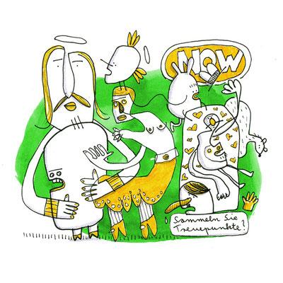 Illustration Lebe jetzt, Zeichnung mit Tusche auf Papier und digitaler Farbe von Frank Schulz Art, zeigt verbundene Kreaturen