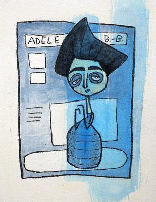 Adele Bloch-Bauer I , Acryl Zeichnung Frau vor Blau von Frank Schulz Art, Meisterwerk Reloaded nach Gustav Klimt