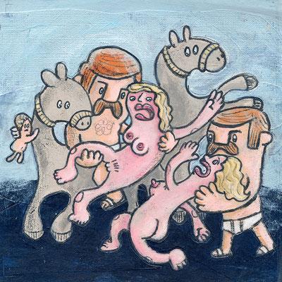 Raub der Töchter des Leukippos, Acryl Zeichnung zwei Männer, zwei Frauen und zwei Pferde von Frank Schulz Art, Meisterwerk Reloaded nach Rubens