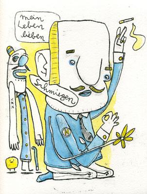 LEBEN LIEBEN UND SCHMIEGEN (Kreaturen auf Gelb), Zeichnung und Aquarell auf Papier von Frank Schulz Art