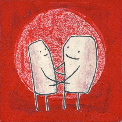 LIEBSSTÜCKCHEN, Zwei Figuren vor Rot, Acryl und Papier auf Leinwand © Frank Schulz 2017