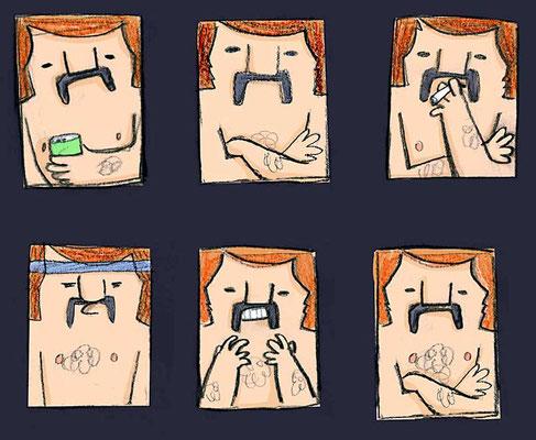 Chatakterstudie für Manni, die Plüschfigur mit Schnauzbart und Feinrippunterhose