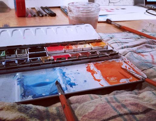 Aquarellfarbkasten im Atelier von Frank Schulz in Berlin
