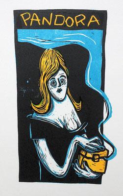 Pandora mit Büchse, Holzschnitt Frau mit Büchse von Frank Schulz Art, Meisterwerk Reloaded nach Rossetti