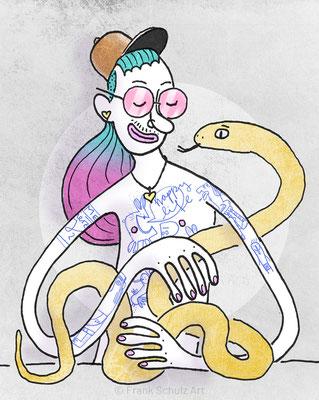 Dame mit dem Hermelin, Tusche Zeichnung mit digitaler Farbe von Frank Schulz Art, Meisterwerk Reloaded nach Da Vinci