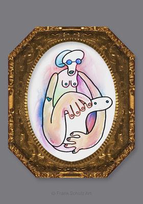 Dame mit dem Hermelin, Procreate Zeichnung von Frank Schulz Art, Meisterwerk Reloaded nach Da Vinci
