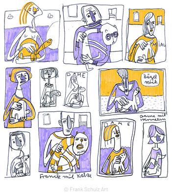 Dame mit dem Hermelin, Skizzen mit farbiger Tusche von Frank Schulz Art, Meisterwerk Reloaded nach Da Vinci