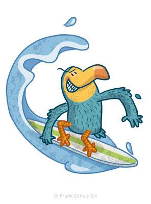 Der Dodo Vogel reitet eine Welle mit seinem Surfboard - digitale Illustration für Kinder von Frank Schulz