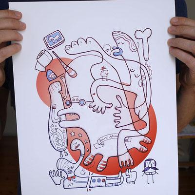 Das Motiv Einhorn in Panik als Fine Art Print