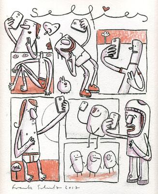 SELFIES ÜBERALL (Kreaturen auf Rot), Zeichnung und Aquarell auf Papier von Frank Schulz Art
