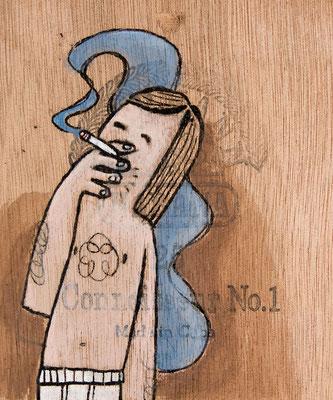 Junger Mann in Feinripp Unterhose raucht | Zeichnung in Acryltechnik auf Zigarrenkiste