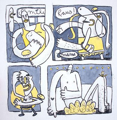 RAUS AUS MEINEM KOPF (Kreaturen in Gelb auf Grau), Zeichnung und Aquarell auf Papier von Frank Schulz Art