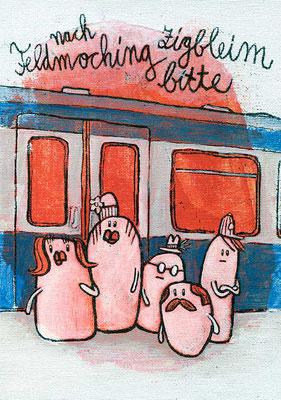 NACH FELDMOCHING: ZURÜCK BLEIBEN BITTE!, Erstaunte Fahrgäste am Gleis, Acryl auf Leinwand, 18 x 24 cm
