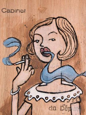 Junge Dame raucht elegant | Zeichnung in Acryltechnik auf Zigarrenkiste
