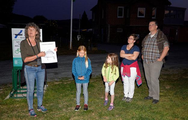 Ulrike Weissenborn vom NABU und Exkursionsteilnehmer beobachten gespannt den Abendhimmel in Grave (Foto: Jürgen Bommer)