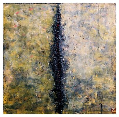 Dal centro, 2000, tecnica mista su tavola, mm 450 x 450