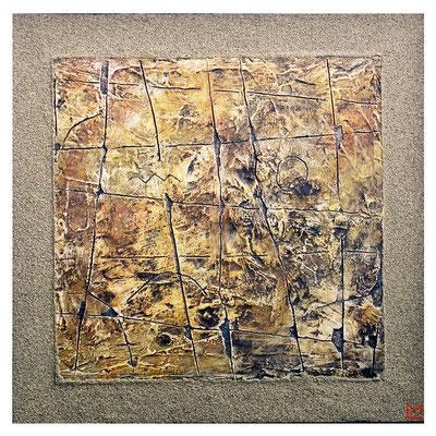 Segni, 2001, tecnica mista su tavola, mm 500 x 500