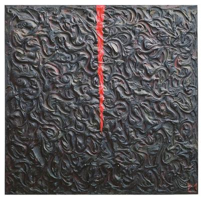 Qui e ora, 2001, tecnica mista su tavola, mm 500 x 500
