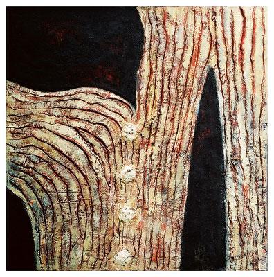 Le linee della vita, 2002, tecnica mista su tavola, mm 700 x 700