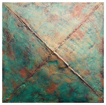 Sullo zenith, 2001,  tecnica mista su tavola, mm 500 x 500