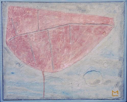 L'estrema traccia, 1992, tecnica mista su tavola, mm 420 x 520