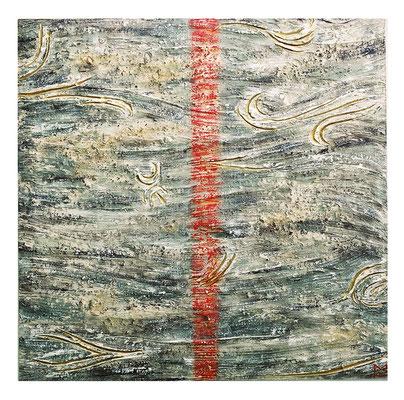 Duna, 2001, tecnica mista su tavola, mm 500 x 500