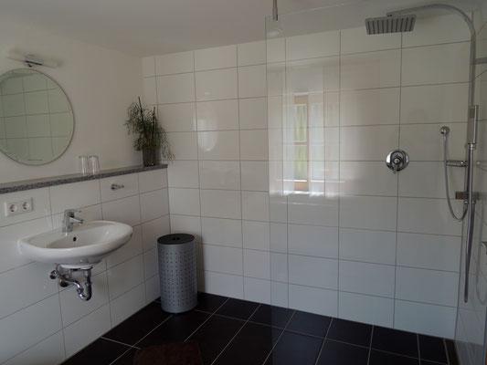 Großes Badezimmer mit ebenerdiger Dusche