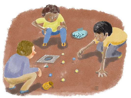 Detail uit groter illustratie 'Buitenspelen'. Opdrachtgever ThiemeMeulenhoff