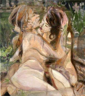 girl on girl, 2020, 65 x 58 cm, oil on linen