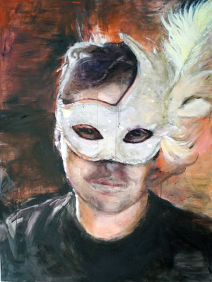 Man with white mask, 200x150 cm, oil on canvas, 2015