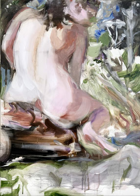 tanja selzer, daphne 1, 2021, 70x50cm, oil and graphite on linen