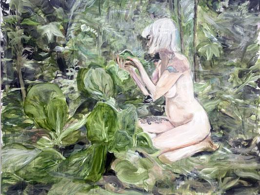 tanja selzer, flora 1, 2021, 150 x 200 cm, oil on linen