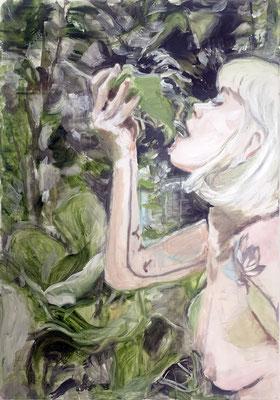 tanja selzer, flora 4, 2021,  100 x 70 cm, oil on linen