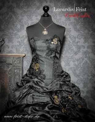 schwarzes steampunk brautkleid