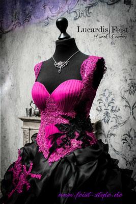 rockabilly brautkleid schwarz pink