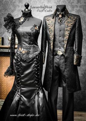 brautmode anders, steampunk gothic hochzeit