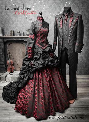 schwarz rote brautkleider