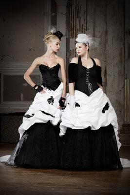 schwarz weiße brautmode