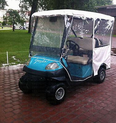 Тент-чехол для гольф-кара (выполнен из комбинации прозрачного ПВХ и непромокаемой синтетической ткани, вход исполнен на молнии)