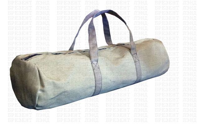 Брезентовая сумка-баул на молнии с ручками, усиливающими дно.