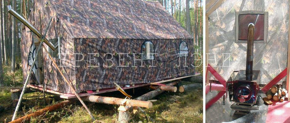Таежная палатка из синтетической маскировочной ткани с водоотталкивающей пропиткой (размер 2,5 * 4,5 м.,  7 окон, 2 входа, печная разделка)