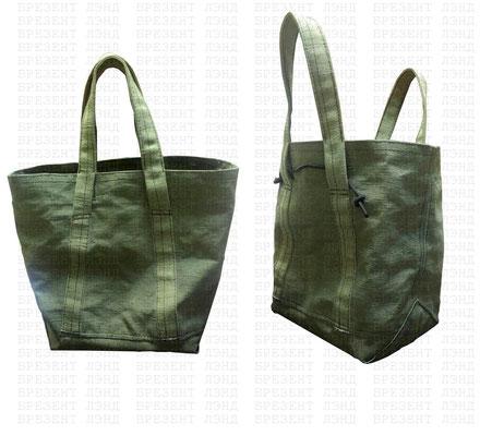 Брезентовая сумка с треугольным дном (сумка держит форму)