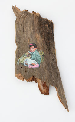 Hoffnung (2018, Acryl auf Schwemmholz, ca. 45x18 cm)