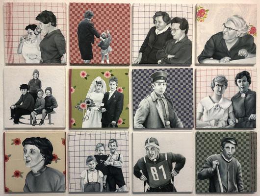 """""""Familienaufstellung"""" (2019, Acryl auf alten Stoffen, Serie von 12  in 30x30 cm)"""
