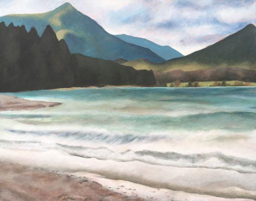 Walchenseelandschaft (2019, Acryl auf Leinwand, 80x100 cm)
