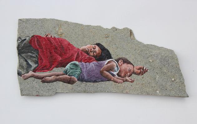 Gestrandet (2018, Acryl auf Steinplatte, ca. 52x24 cm)