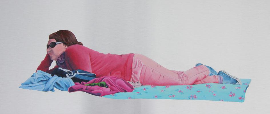 Gelangweilt (2018, Acryl auf Aludibond, 2 Platten à 40x50 cm)